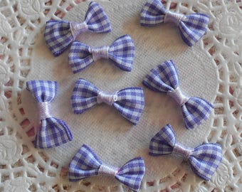 Bow purple and white gingham polyester for 3.00 x (8 knots) sewing