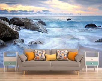 Tropical Wallpaper, Stones Wallpaper, Ocean Wall Covering, Sea Wall Covering, Beach Wall Covering,Nature Wall Covering, Vinyl Peel And Stick