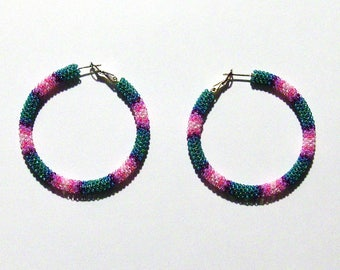 Hoop Earrings - Jewelry - Beaded Hoop Earrings - Seed Bead Earrings - Hoops - Womens Earrings - Jewelry Accessories - Gifts For Her