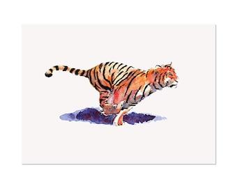 The Tiger, art print 5x7 Animal Art Watercolor Painting, illustration, home decor, Nursery, wall art, postcard