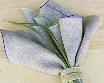 """Thanksgiving Napkins, Natural Napkins, Thanksgiving Table, Shown in Stone Natural Linen w Trim in Neon Green and Grape , Set of 4, 20"""""""