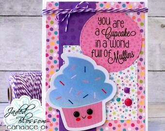 Cupcake Die Cut Card, Birthday Card, Cupcake, DIY Kit