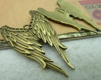 21% off 5 Antique Bronze 33x54mm Angel Wings Charms Pendants AH3058