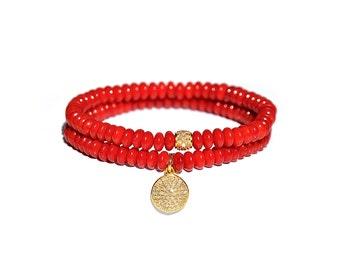 14 k Pave Diamant Koralle zierliches Armband