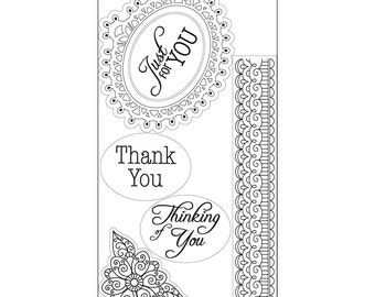 New! Sizzix Interchangeable Clear Stamps - Doodle Label w/Phrases by Jen Long
