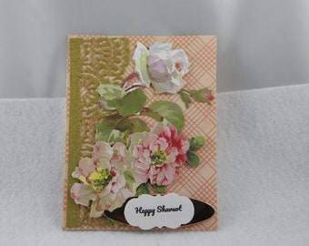 Shavuot card, happy Shavuot card, Shavuot floral card, Jewish holiday card, handmade Shavuot card