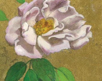White and Pink Rose with Gold
