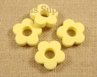 28 mm Pastel Yellow Silicone Mini Flower Bead - Food Grade Teething Bead - Teething Necklace Silicone Bead