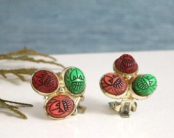 Vintage Scarab Tri-colour Earrings - Fruit Salad Beetle Earrings - Egyptian Revival Three Color Scarab Earrings - Multi-colour Earrings