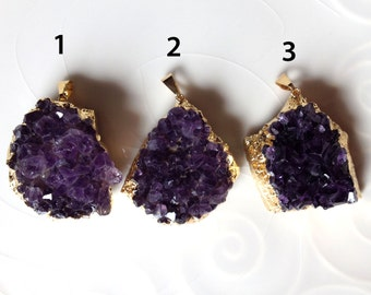 Amethyst Druzy, Gold Amethyst Pendant, Gold Electroplated Druzy,  Druze, Drusy, B