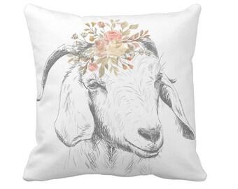 Farmhouse Decor Farmhouse Style Pillow Floral Goat Pillow Cover