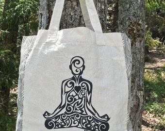 Yoga Pose Tribal Tattoo Origins Cotton Tote Bag