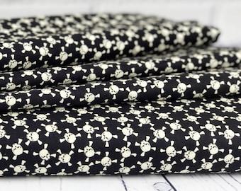 Halloween Fabric - Black Skull Fabric - Glow in the Dark Fabric - Eek Boo Shriek - Skull Fabric - Sold by Half Yard