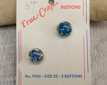 Vintage Intaglio Glass Buttons Two Part Original Card USA Zone Germany