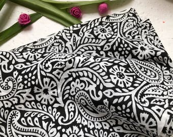 Indian Fabric all over paisley print, Indian Cotton, Fabric by the yard, black and white print, Womens Fashion, Quilting and Sewing fabric