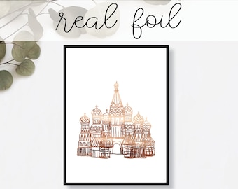 St. Basil's Cathedral Moscow Print // Real Gold Foil // Minimal // Gold Foil Art // Home Decor // Modern Office Print // Landmark // World