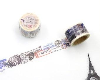 Stamp Washi Tape, Postage Stamp Washi Tape, Travel Washi Tape