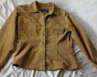 Women's Vintage Corduroy jacket, Light-brown Corduroy shirt, thin Corduroy, used, excellent condition, size S