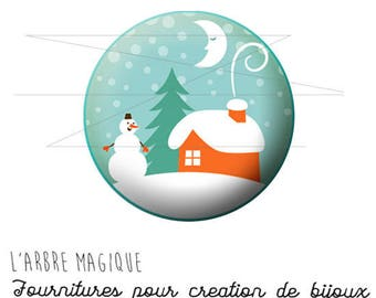 Cabochon 25 mm Christmas snowman snow ref 1467 fancy