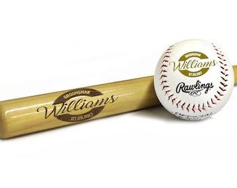 Engraved Ring Bearer Baseball Bat - Ring Bearer Gift, Groomsmen Gift, Engraved Baseball, Custom Baseball Bat,  Monogrammed for Free