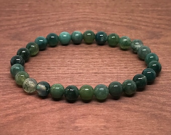 Moss Agate Bracelet - Natural Moss Agate Bracelet Genuine Green Chalcedony 6mm Stacking Bracelet Gemstone Stretch Healing Real Authentic