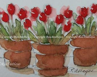 Tulips Watercolor Painting Print Flowers Floral Garden Bouquet