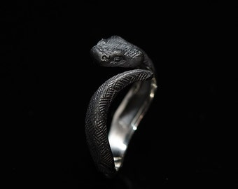 Black Snake Ring/Serpent Coil Ring/Silver Black Snake
