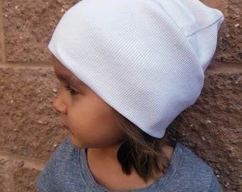 White childs' beanie / Kids' slouchy hat /  Childs'  cotton hat