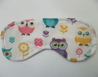 cotton blackout eye mask , sleep mask , flight, travel, migraine  **** cute owls ****