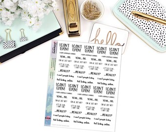 SNARK SERIES: Can't Even Script Sampler - Paper Planner Stickers - Mini Binder Sized/3 Hole Punched