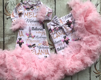custom gown set, baby girl gown, petti gown, over the top, baby diva, baby shower gift, photo prop, paris theme, hospital gown, pageant baby