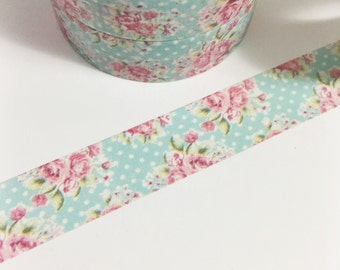 Aqua Blue Polka Dots With Hot Pink Roses Vintage Roses Floral Washi Tape 11 yards 10 meters 15mm