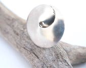 Ring Solid Sterling Silver, Spiral Circle Size 6 Ring, Architectural Statement Jewel In Snail Shell Shape, Modern Bohemian Jewelry For Women