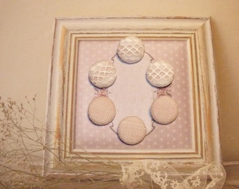 6 BUTTONS IN PINK WITH WHITE LACE COTTON