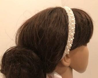 Pearls and Seed Beads Headband, Wedding Hairpiece