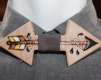 bow tie, bow tie, wood, shaped arrowhead, arrow pattern tie, men accessories