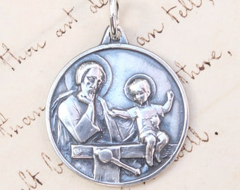 St Joseph Workbench Medal - Patron of fathers and grandfathers - Sterling Silver Antique Replica