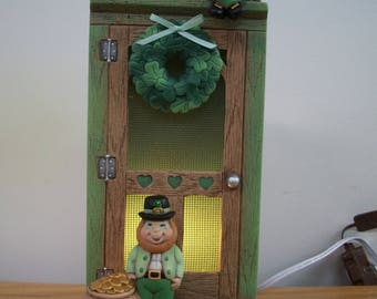 St Patrick's Day decoration Leprechaun lighted door novelty light