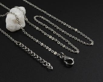 """Finished Chain Necklace, 24"""" Necklace, Stainless Steel, Tarnish Resistant, 1.5mm, Link Chain Necklace, Finished Cable Chain Necklace"""
