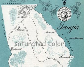 Georgia Map - Vintage Aqua colorful illustrated map of Georgia - 1960s picture map - Fun Retro Colors