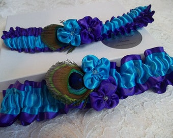 Peacock Wedding Garter Set - Violets in Royal Purple and Turquoise with Peacock Feathers, Bridal Garter Set