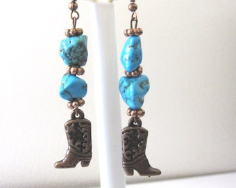 Western Earrings Turquoise Blue Cowboy Boot Copper Cowgirl Jewelry