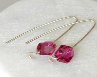 Fuchsia Crystal Earrings,  Modern Long Earrings, Hot Pink Earrings, Sterling Silver Earrings