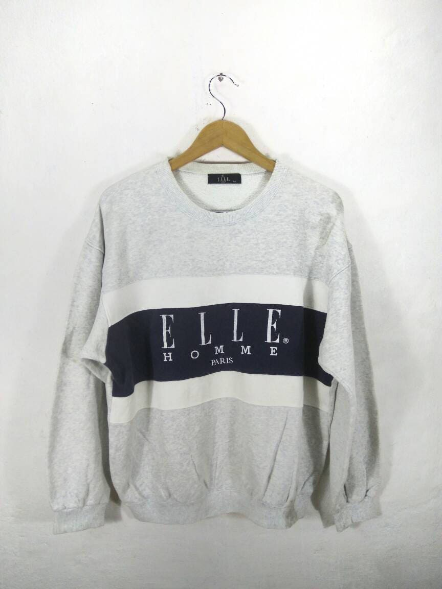 Vintage Elle Paris Sweatshirt Elle Spellout Surf Hip Hop Big Logo Sweatshirt CGGW79t