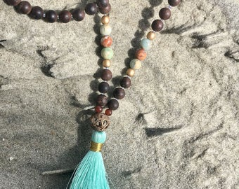 Sandalwood and Jasper mala necklace with silk tassel