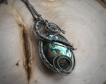Abalone Necklace, Shell Necklace, One of a kind, Wire Wrapped Pendant