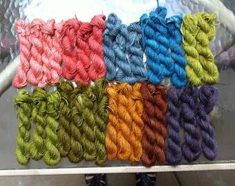 Hand dyed 100% Alpaca Yarn
