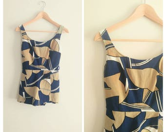 Vintage 1960s 60s Abstract Print Swimsuit Swimwear Bathing Suit Skirted Romper One piece Retro Pinup