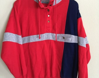 Vintage 90s red sporting club jacket/pullover/Sweater