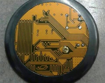 yellow printed circuit board necklace